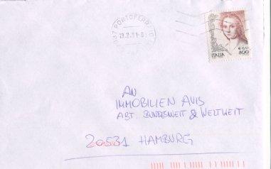 Die Frau in der Kunst (seit 1998), Michel Nr. 2617 auf Brief