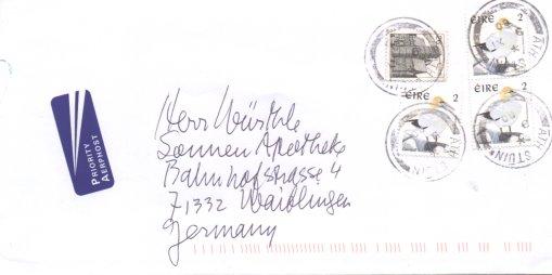 Einheimische Vögel (seit 1997), Michel Nr. 1017 auf Brief