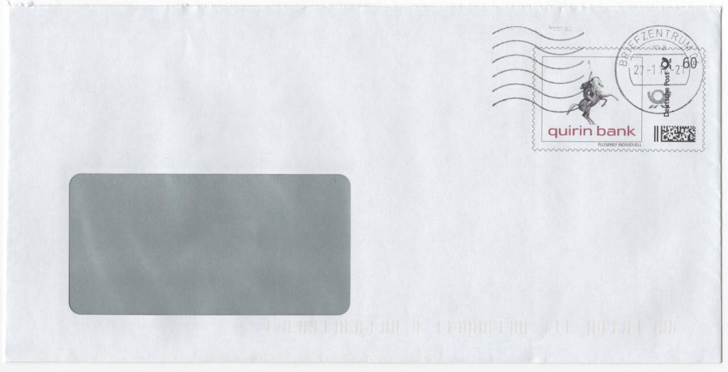 Abbildung 12: Plusbrief Quirin Bank, Portostufe 60 ct, Maschinenwellenstempel 27.1.14, Briefzentrum 04