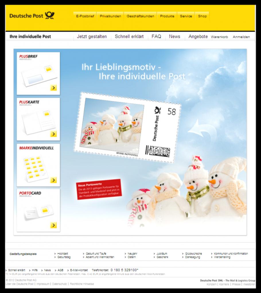 Abbildung 2: Internetseite www.post-individuell.de (Stand 2/2013)