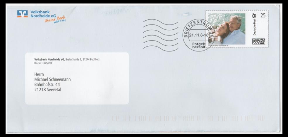 Abbildung 6: Plusbrief der Volksbank Nordheide eG, Buchholz, 2008, Klischeestempel Briefzentrum 30, 21.11.8 - 18, Entgelt bezahlt