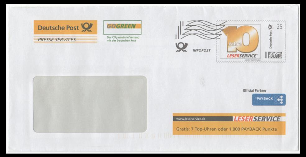 """Abbildung 7: Plusbrief der Deutschen Post, Presse Service, """"10 Jahre Leserservice"""", Inschrift Marke Individuell, Infopost mit Frankierwelle, 2012"""