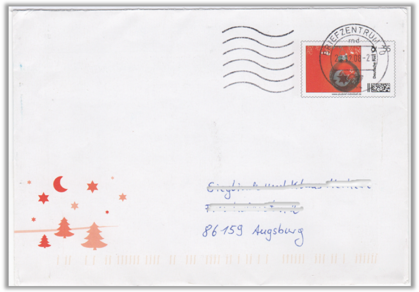 Abbildung 8: Plusbrief mit verkleinerter Marke, Motiv Weihnachtskugel, Michel UI-9, 2008