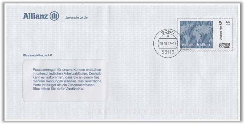 Abbildung 10: Plusbrief Allianz aus 2007, Portostufe 55 ct mit Klischeestempel Bonn