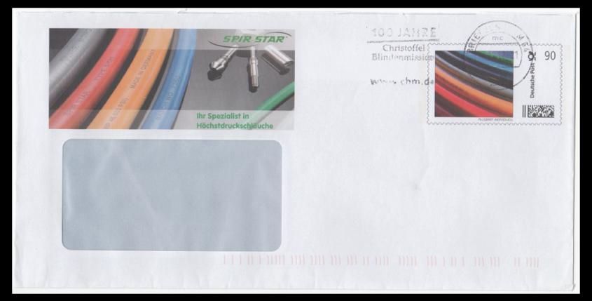 Abbildung 13: Plusbrief Fa. SpirStar, Portostufe 90 ct, Maschinenwerbestempel 4.12.12, Briefzentrum 64