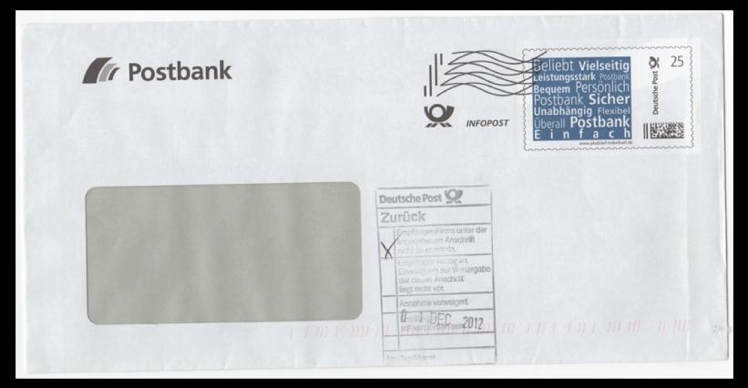 Abbildung 15: Plusbrief Postbank als Infopost 25 ct mit Frankierwelle