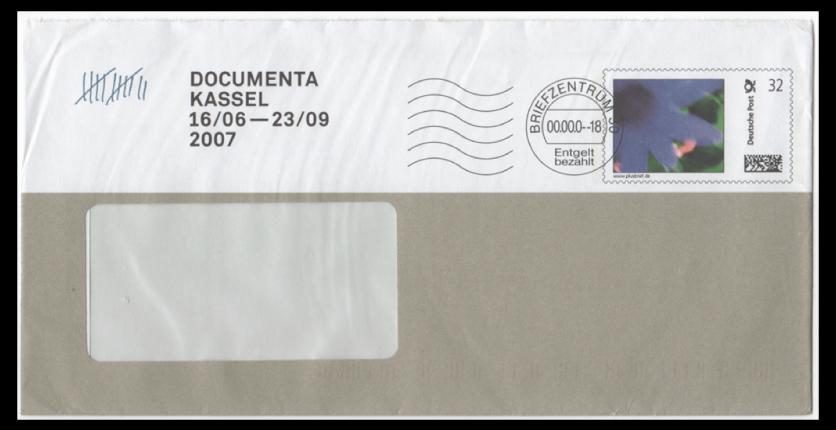 Abbildung 16: Plusbrief Documenta Kassel 2007 als Infobrief 32 ct mit Klischeestempel BZ 30, Entgelt bezahlt