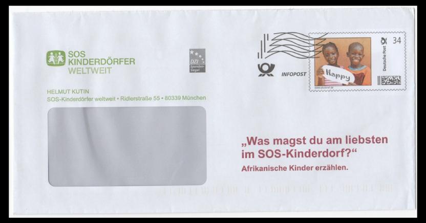 Abbildung 17: Plusbrief SOS Kinderdörfer als Infopost 34 ct mit Frankierwelle