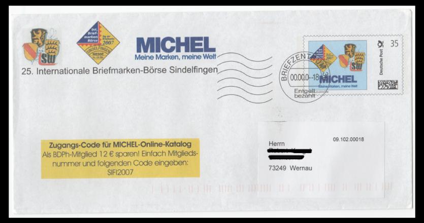 Abbildung 18: Plusbrief Fa. Schwaneberger (Michel Kataloge) als Infobrief 35 ct