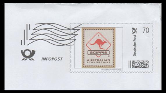 """Abbildung 20: Briefausschnitt einer C4 Infopost Sendung der Modemarke """"Scippis"""" (der komplette Umschlag liegt vor)"""