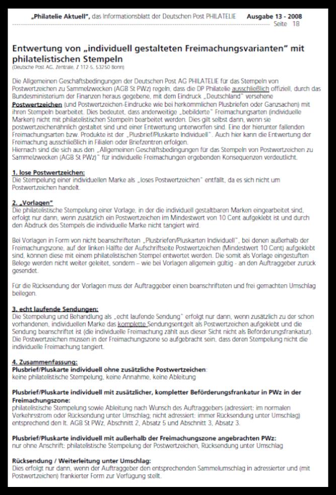"""Abbildung 23: """"Philatelie Aktuell"""" 13-2008 (3. Jul. 2008) Entwertung von """"individuell gestalteten Freimachungsvarianten"""" mit"""