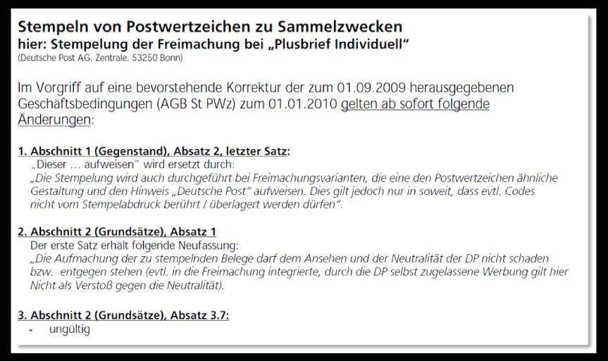 """Abbildung 24: """"Philatelie Aktuell"""" 25-2009 (4. Dez. 2009) Stempeln von Plusbrief Individuell zu Sammlerzwecken"""