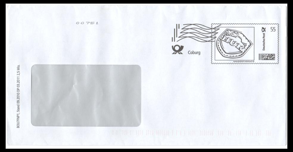 Abbildung 26: Plusbrief HUK-Coburg, 55 ct mit Frankierwelle und Druckvermerk, 03.2011