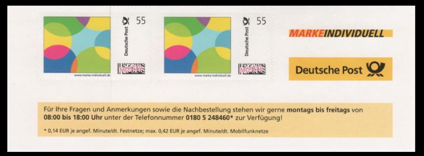 Abbildung 55: Ausschnitt eines Musterbogens, 2. Phase mit URL, Zudruck der DPAG am unteren Bogenrand