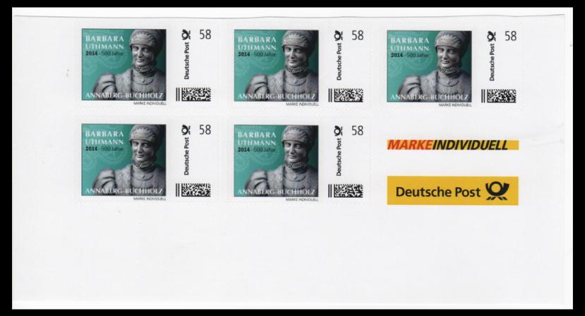 """Abbildung 56: Auschnitt Bogen """"Barbara Uthmann, 2014 500 Jahre"""", 2013 ohne Zudruck"""