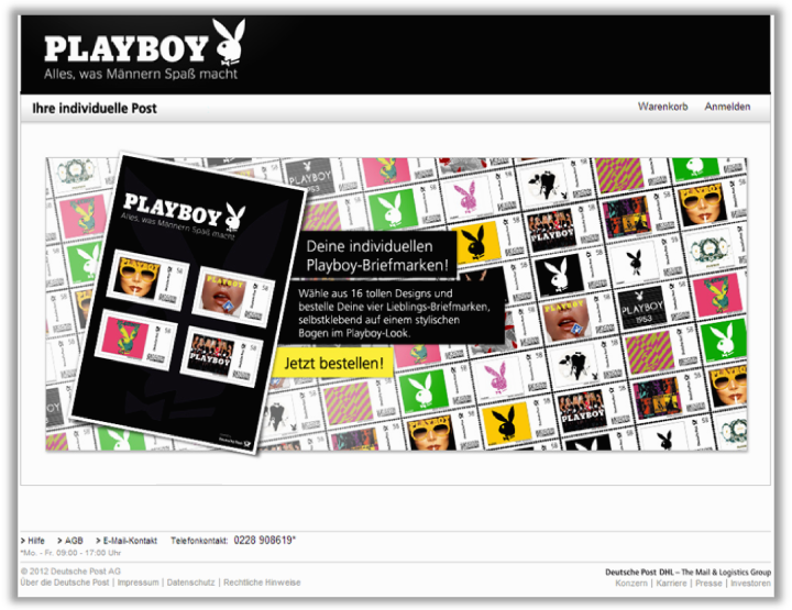 Abbildung 57: Internetseite der DPAG zur Bestellung der Playboy Bögen, 2013