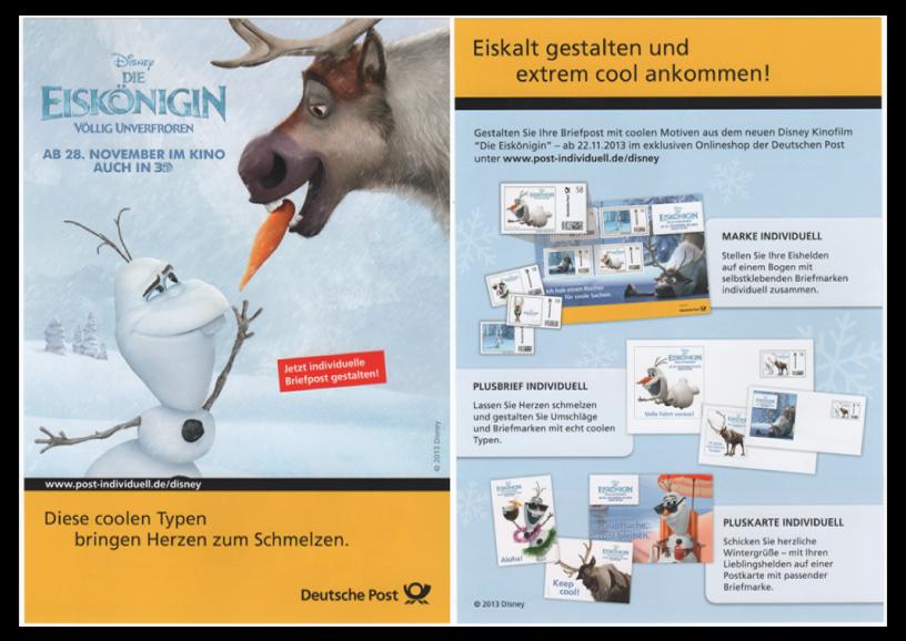 """Abbildung 59: Flyer der DPAG zum Kinostart des Disney Films """"Die Eiskönigin"""", Nov 2013"""
