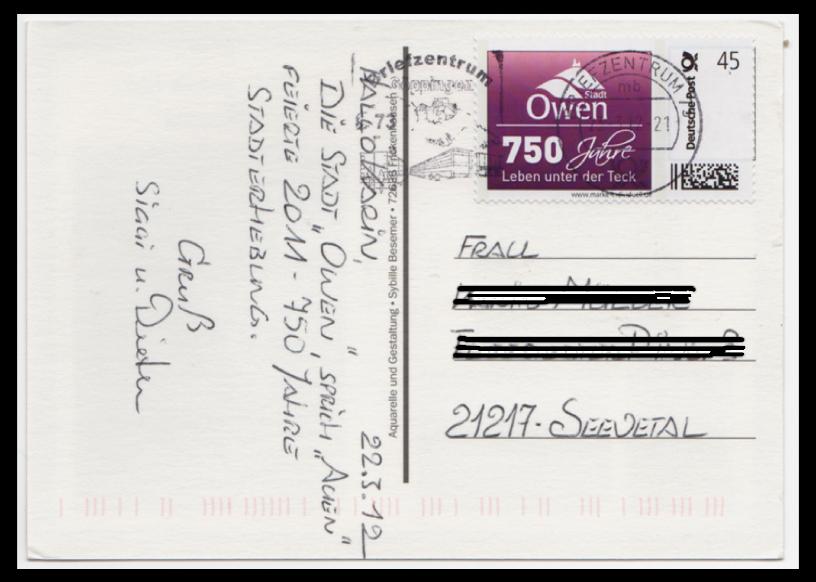 Abbildung 61: 750 Jahre Stadt Owen, 45 ct, auf Postkarte