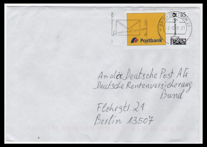 Abbildung 62: Postbank Beleg zu 55 ct aus der Versuchsphase 2010