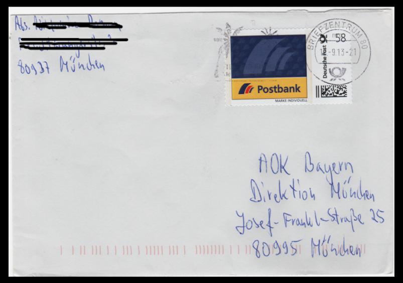 Abbildung 63: Rollenmarke Postbank 58 ct, 2013 auf Brief