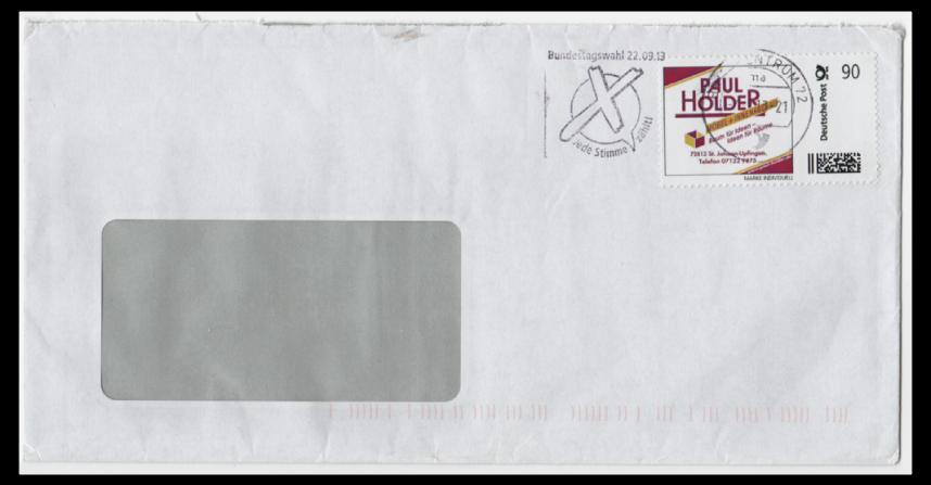 Abbildung 65: 90 ct Marke der Tischlerei Paul Holder auf Brief, 2013