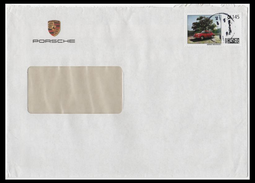 Abbildung 66: Porsche Marke mit kursiver Inschrift, 145 ct auf Großbrief, Nachträglich entwertet Stempel