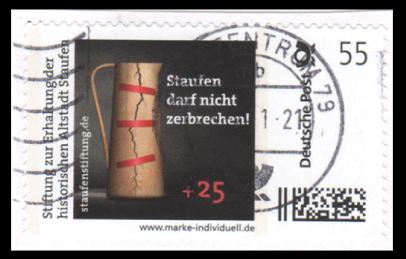 """Abbildung 35: Bogenmarke """"Staufen darf nicht sterben"""" mit 25 ct Zuschlag"""