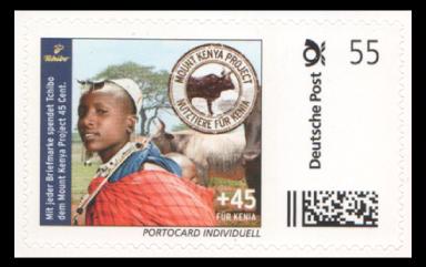 Abbildung 36: Marke aus Portocard der Fa. Tchibo mit 45 ct Zuschlag für ein Projekt in Kenia, 2012 (kursive Schrift)