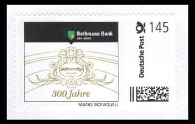 """Abbildung 37: Bogenmarke """"300 Jahre Bethmann Bank, ABN AMRO"""", 2012 (gerade Schrift)"""