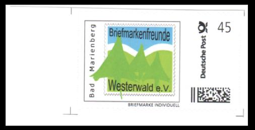 "Abbildung 38: Bogenkarke ""Briefmarkenfreunde Westerwald e.V. Bad Marienberg"", 2014"