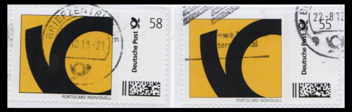 Abbildung 41: Ausgabe DPAG, Posthorn, fette (links, 2013) und magere (rechts, 2012) Schriftart