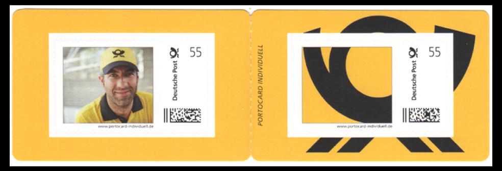 Abbildung 42: Portocard der Deutschen Post, Innenseite mit 2 Marken