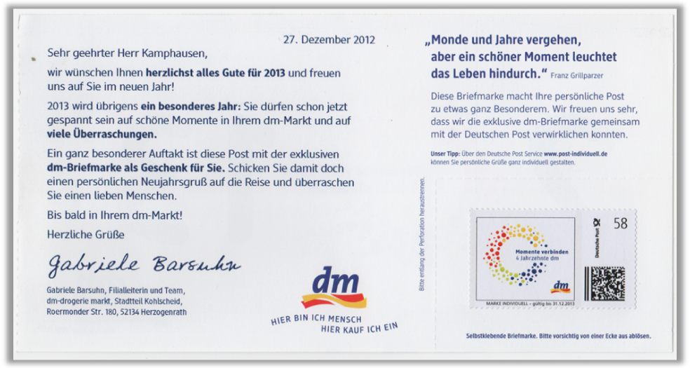 """Abbildung 75: Personalisiertes Anschreiben mit aufgeklebter """"dm"""" Marke"""
