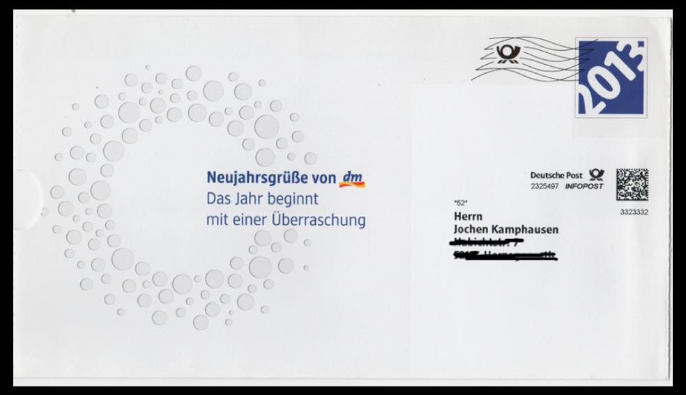 Abbildung 76: Infopostumschlag mit Perforation auf der linken Seite