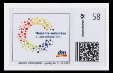 """Abbildung 77: """"dm""""-Marke Individuell mit Verfallsdatum und großem Datamatrixcode, 2013"""