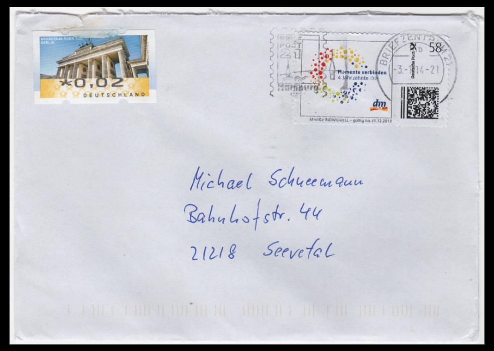 "Abbildung 78: ""dm""-Marke ohne Beanstandung am 3.1.14 im Briefzentrum 21 abgestempelt"