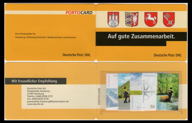 Abbildung 79: Außen- und Innenseite (unten) einer Portocard der Pressestelle Hamburg der Deutschen Post DHL, 2005