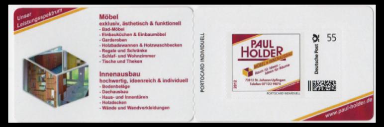 Abbildung 83: Portocard der Tischlerei Paul Holder mit einer 55 ct Marke, 2012
