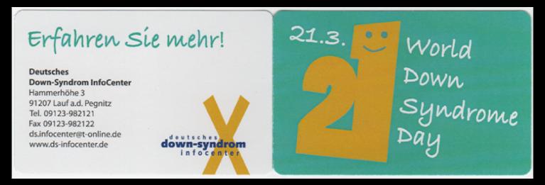 Abbildung 87: Portocard des Deutschen Down-Syndrom Info Center, Aussen