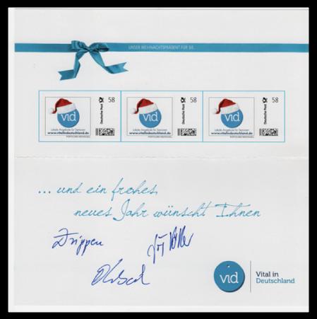Abbildung 88: Portocard der Initiative Vital in Deutschland, 3 Marken á 58 ct, innen, 2013