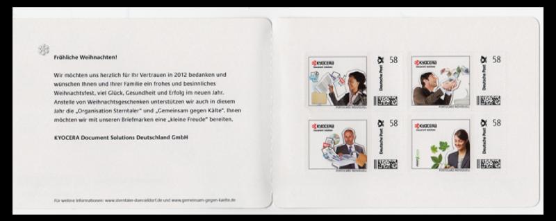 Abbildung 90: Portocard der Fa. Kyocera, 4 Marken á 58 ct, innen, 2013