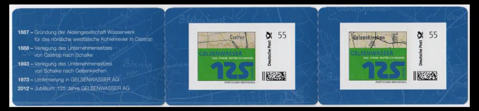 Abbildung 92: Portocard der Gelsenwasser AG mit 2 Marken á 55 ct, 2012