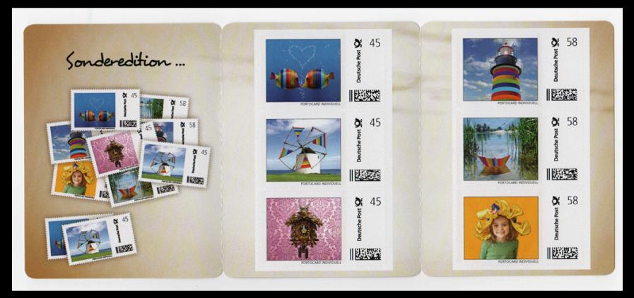 Abbildung 94: Mayersche Buchhandlung, Portocard mit 3 Marken á 45 ct und 3 Marken á 58 ct, 2013