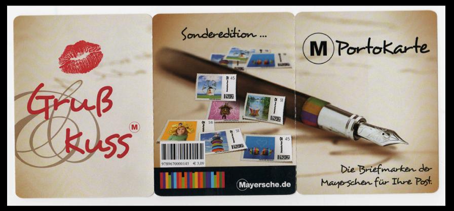 Abbildung 95: 6-seitige Portocard, 2 mal senkrecht gefaltet, Aussenseite