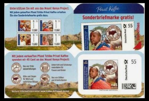 Abbildung 100: Kleine Portocard der Fa. Tchibo, Motiv: Nutztiere für Kenia, 2011